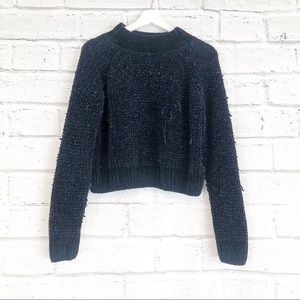 Divided H&M Navy Blue Velvet Turtleneck Sweater